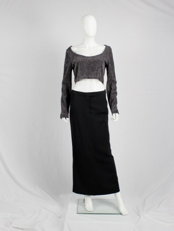 Dries Van Noten silver cropped jumper with extra wide neckline — 1980's