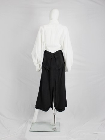 Yohji Yamamoto black maxi skirt with inserted panels and curved zippers