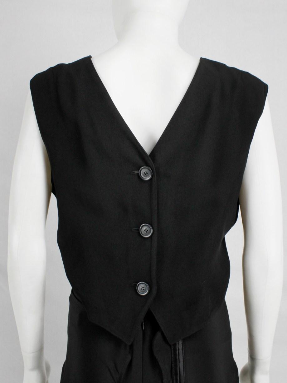 Ann Demeulemeester black backwards waistcoat with open back — spring 2003