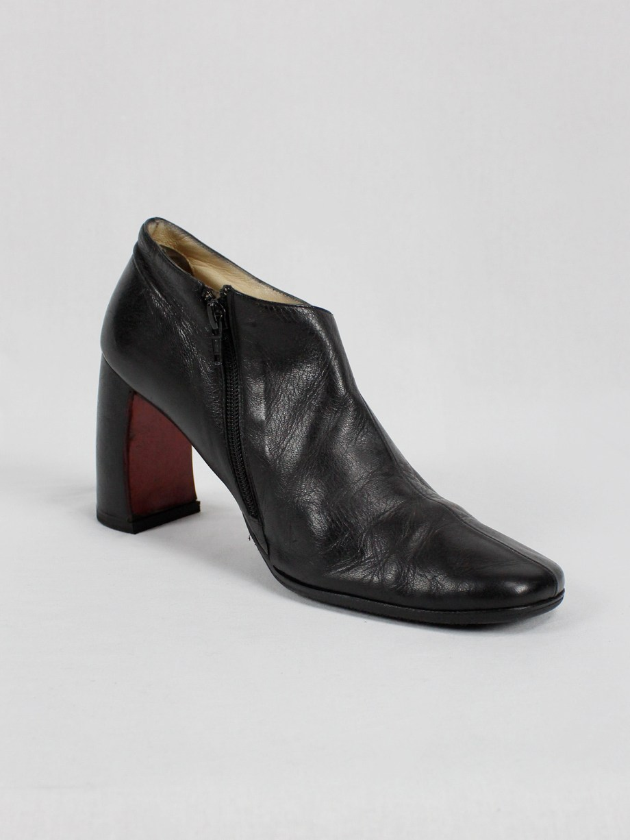 Ann Demeulemeester black below-ankle boots with banana heel 1990s 90s (5)
