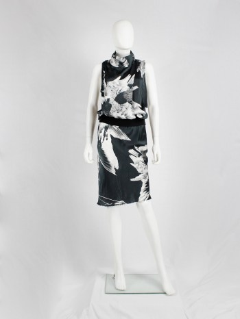Ann Demeulemeester black bird print dress with standing neckline — spring 2010