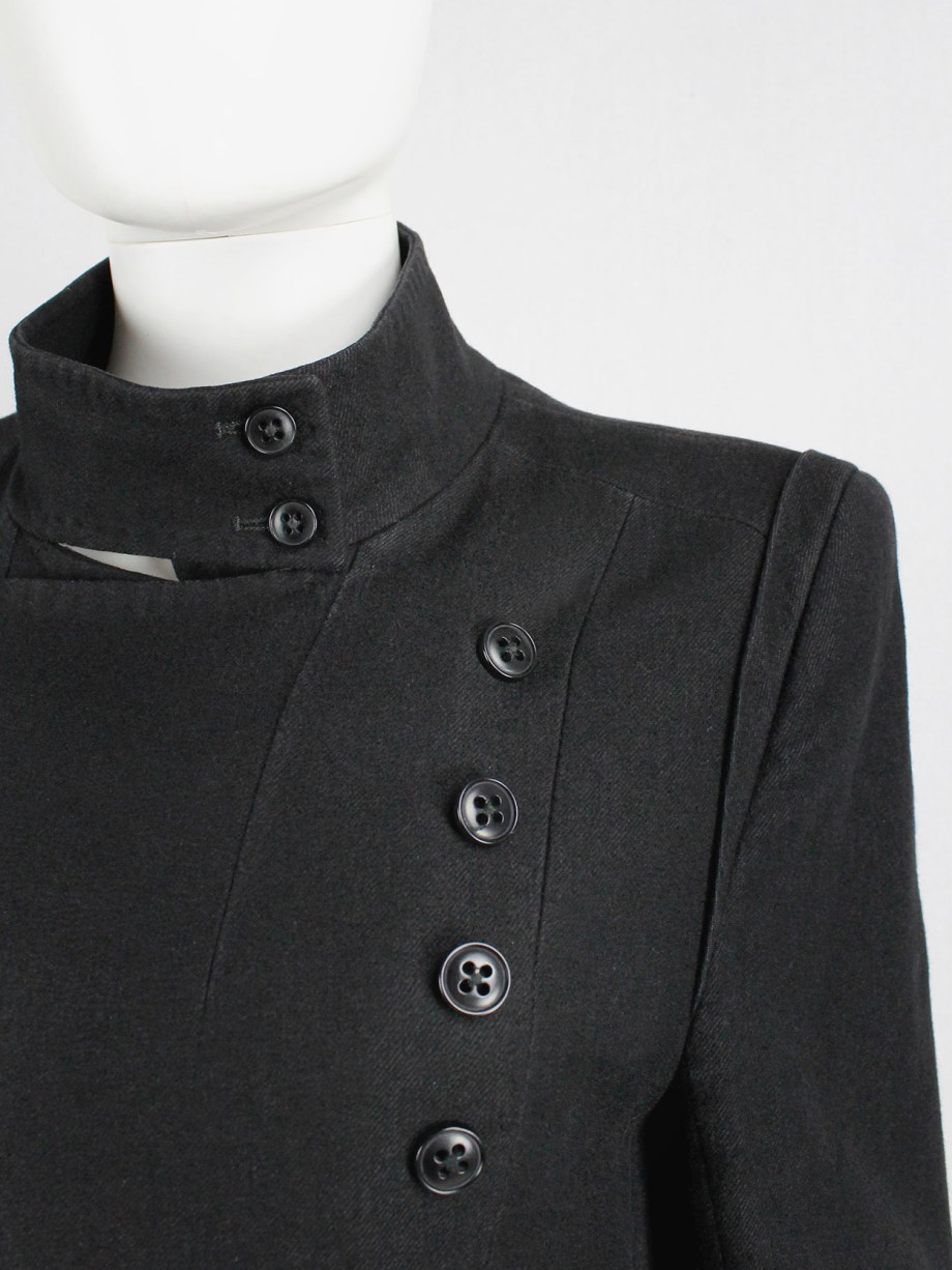 Ann Demeulemeester black double breasted military-style coat — fall 2005