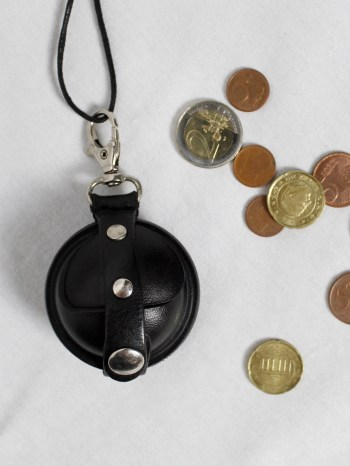 Ann Demeulemeester black leather coin pouch on a necklace