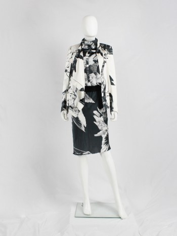 Ann Demeulemeester white asymmetric bird print jacket with inner belt strap — spring 2010