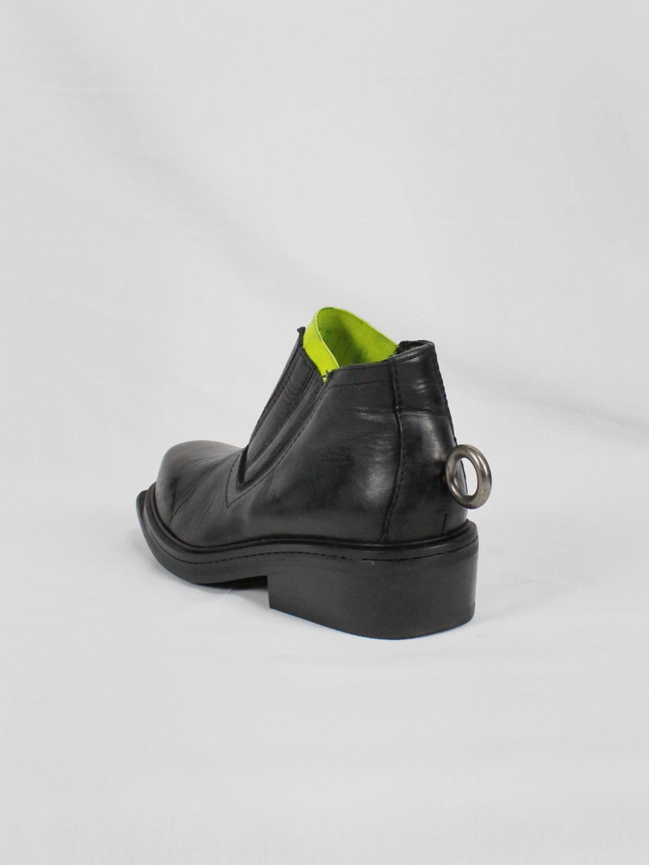 Dirk Bikkembergs black ankle boots with metal ring and neon elastic spring 1998 (22)