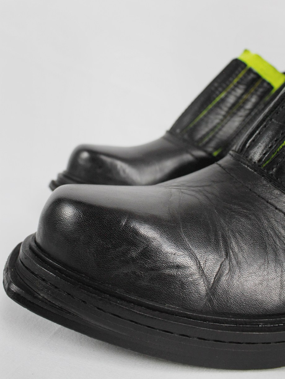 Dirk Bikkembergs black ankle boots with metal ring and neon elastic spring 1998 (6)
