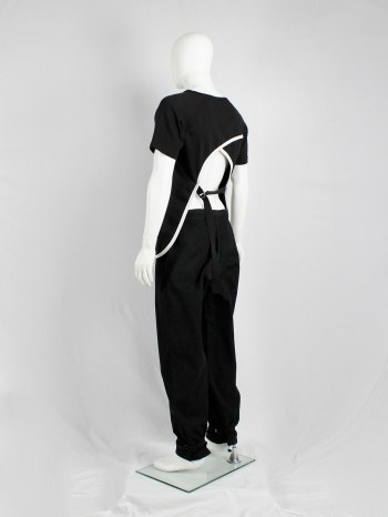 Dries Van Noten black t-shirt with white trim and open belted back