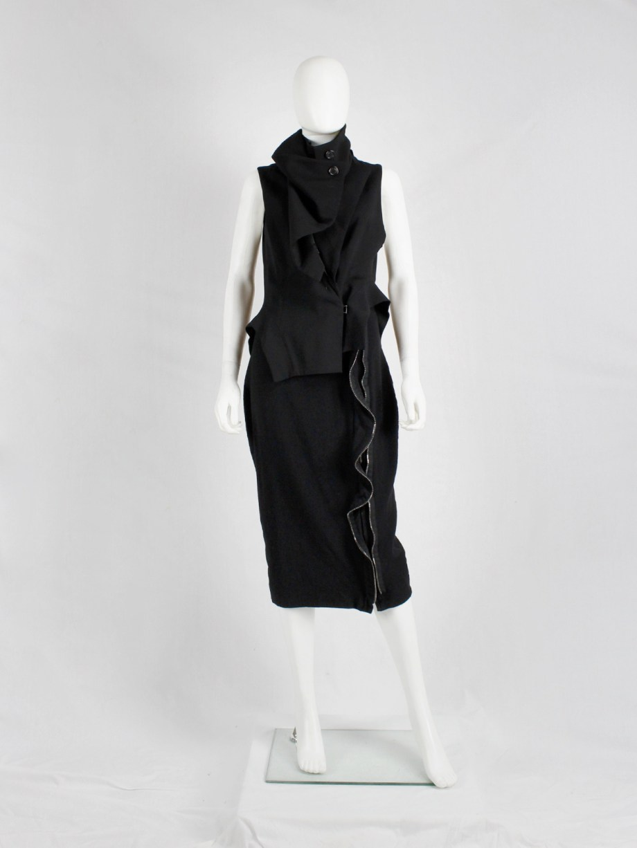 Haider Ackermann black pencil skirt with two zipper waves runway fall 2012 (2)