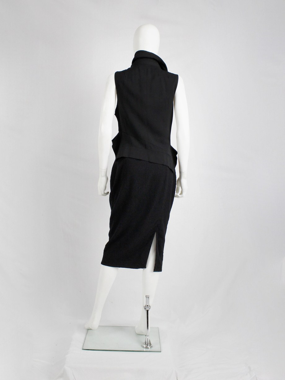 Haider Ackermann black pencil skirt with two zipper waves and slit — fall 2012