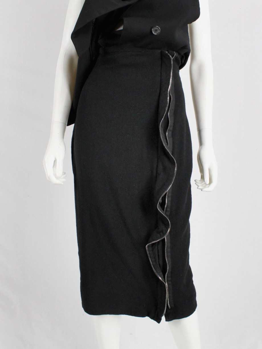 Haider Ackermann black pencil skirt with two zipper waves runway fall 2012 (9)