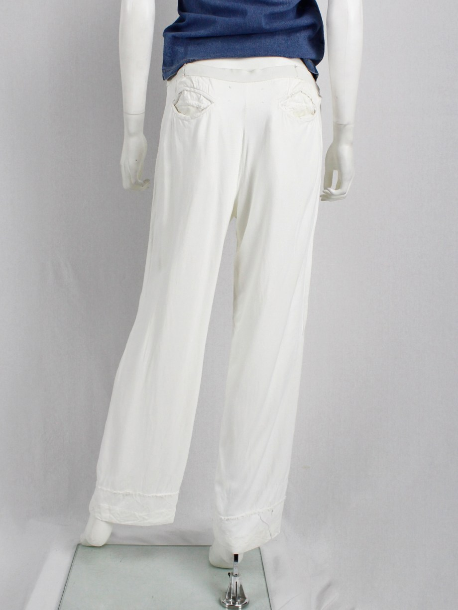 Maison Martin Margiela white reworked trousers with tucked waist — spring 2004