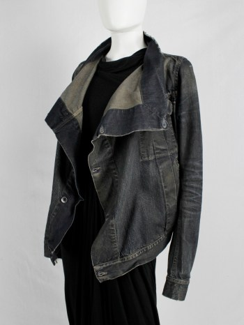 Rick Owens DRKSHDW dark blue exploder jacket in distressed denim — pre 2010