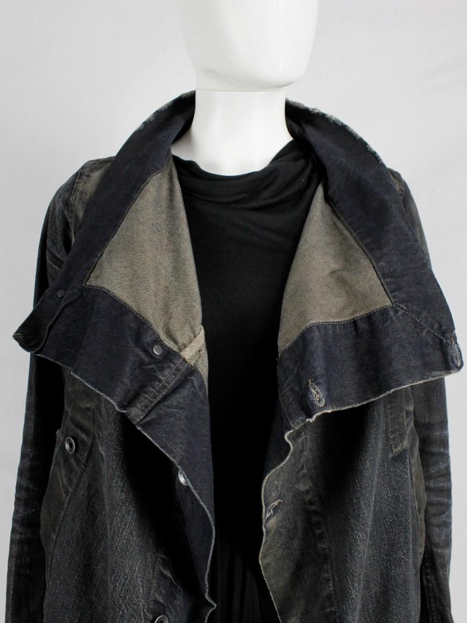 Rick Owens DRKSHDW dark blue exploder jacket in distressed denim — pre 2010