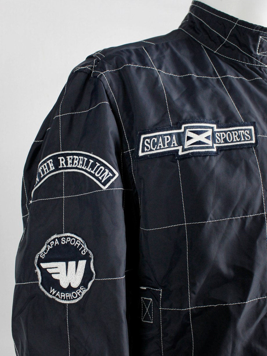 Walter Van Beirendonck for Scapa dark blue 'Formula 1' jacket with white stripes and patches (5)