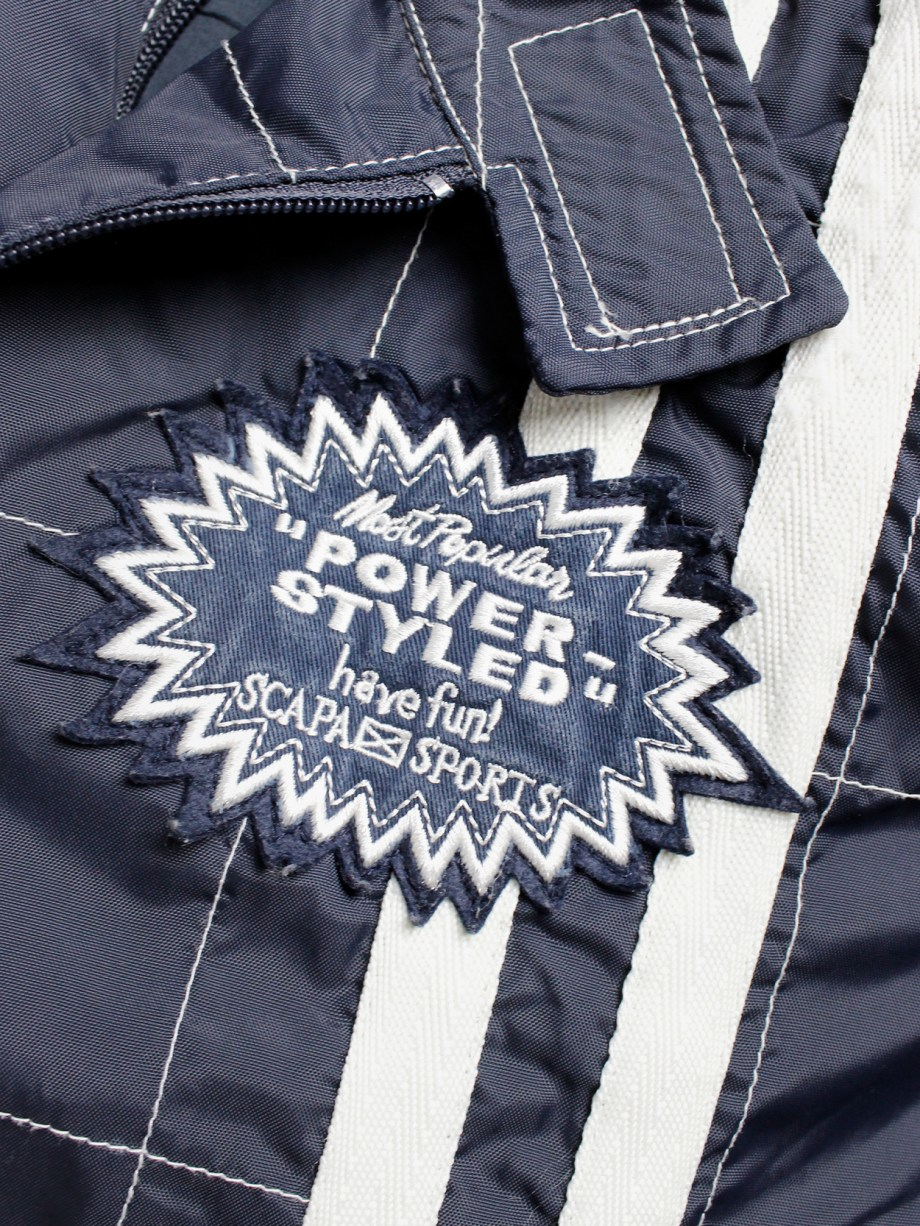 Walter Van Beirendonck for Scapa dark blue 'Formula 1' jacket with white stripes and patches (8)