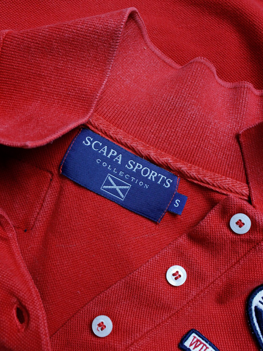 Walter Van Beirendonck for Scapa red 'Formula 1' poloshirt covered with patches (1)