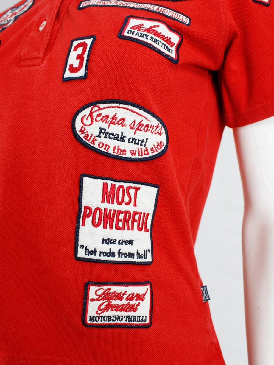 Walter Van Beirendonck for Scapa red 'Formula 1' poloshirt covered with patches (6)