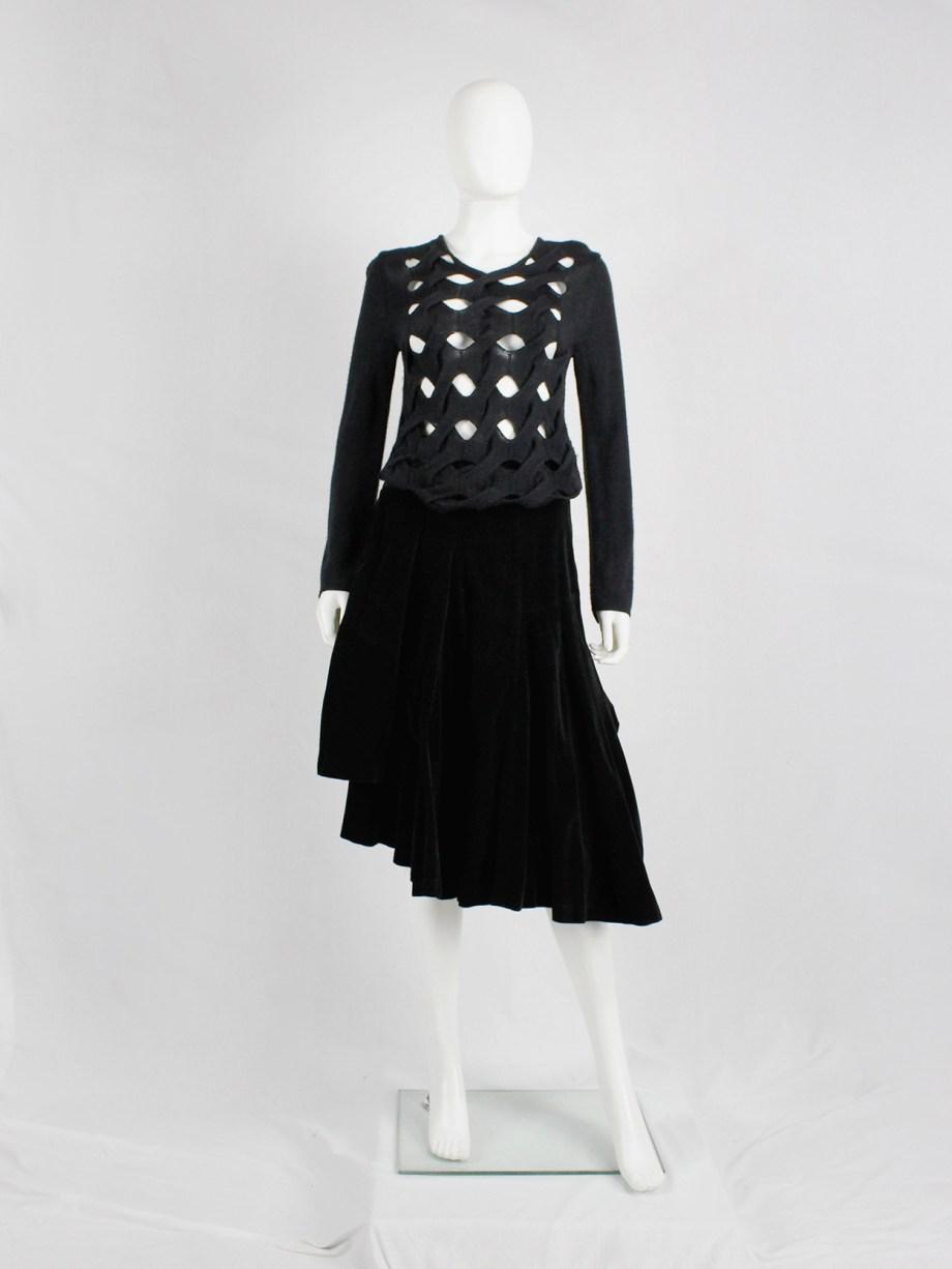 Comme des Garçons black woven jumper with holes — AD 2002