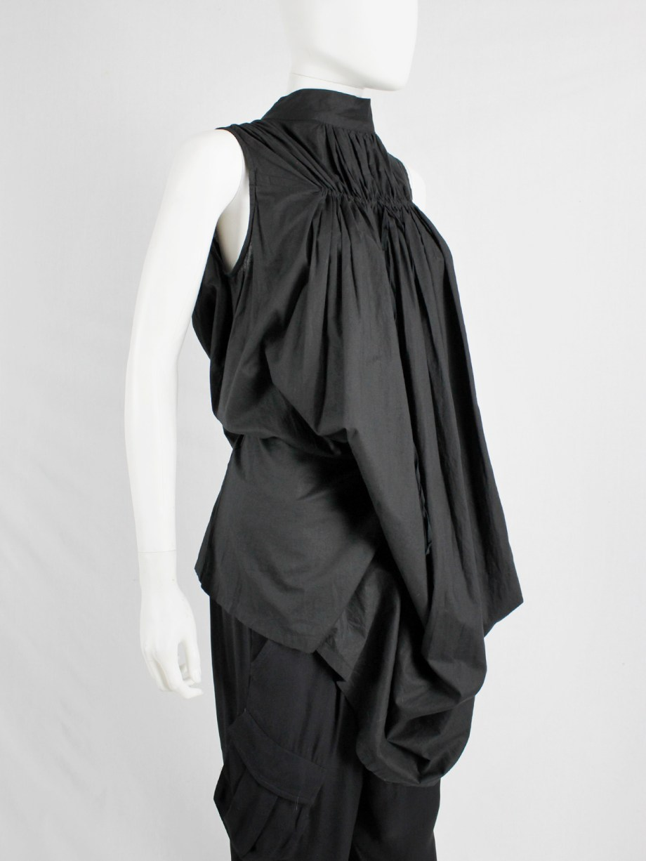 Ann Demeulemeester black gathered dress or top with fine pleats at the top — fall 2009