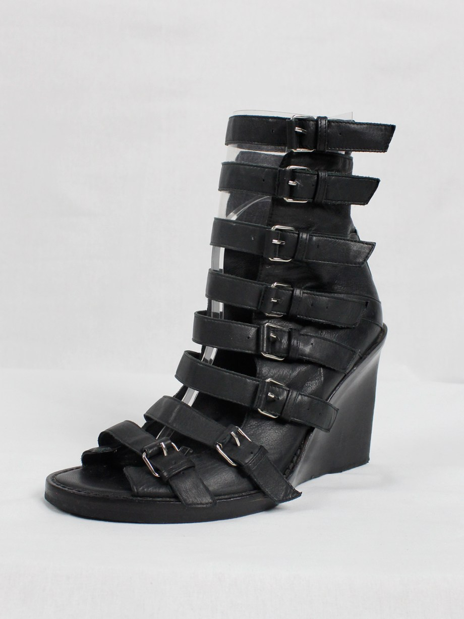Ann Demeulemeester black wedge sandals with buckle belts (41) — spring 2010