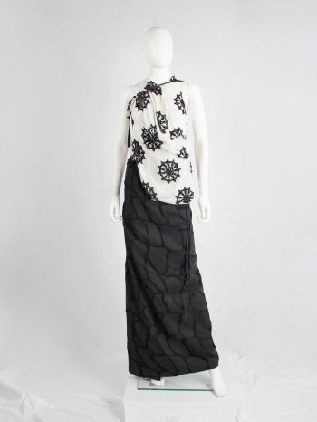 Ann Demeulemeester black maxi wrap skirt with netting pattern — spring 2001