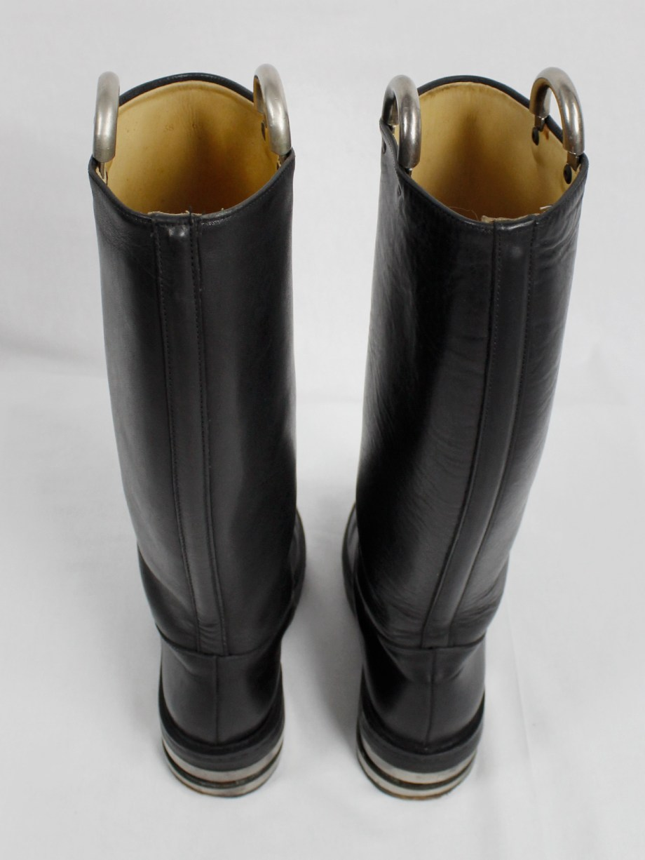Dirk Bikkembergs black knee-length boots with metal slit heel and metal pulls (38) — mid 90's