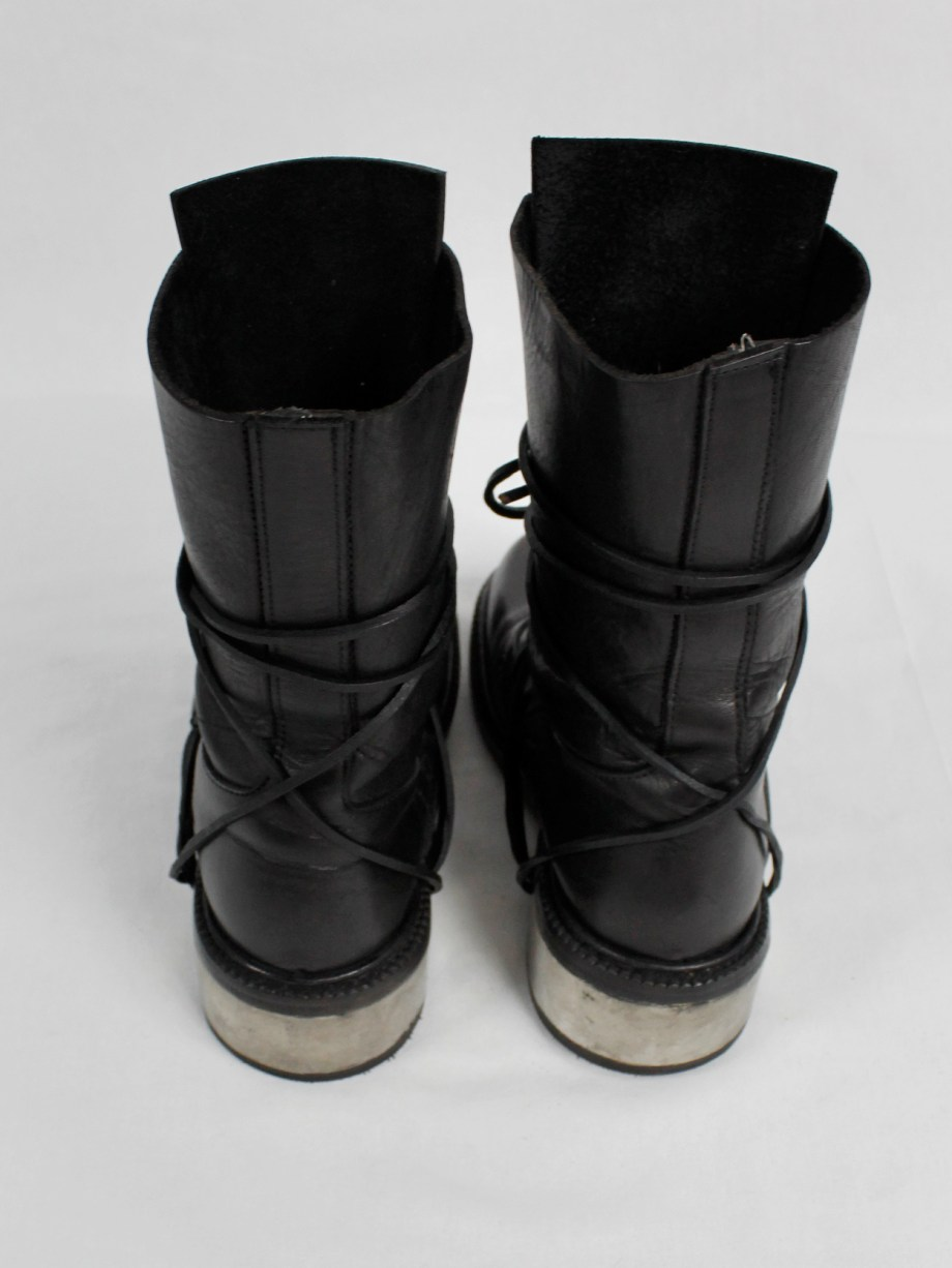 Dirk Bikkembergs black tall boots with laces through the metal heel (36) — late 90's