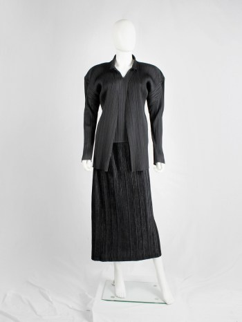 Issey Miyake Pleats Please black cardigan with open front and squared shoulders