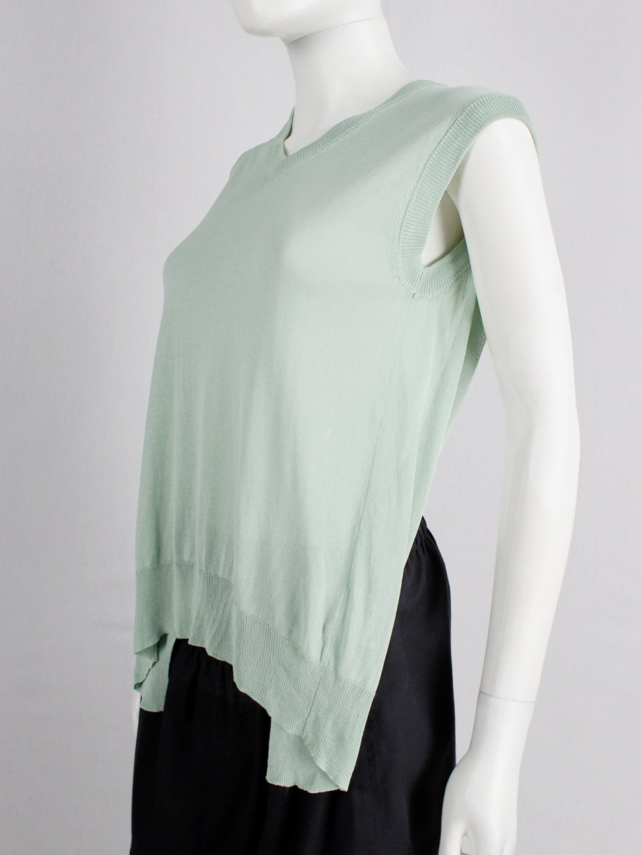 Maison Martin Margiela mint green backless top draped on the front of the body — spring 2004