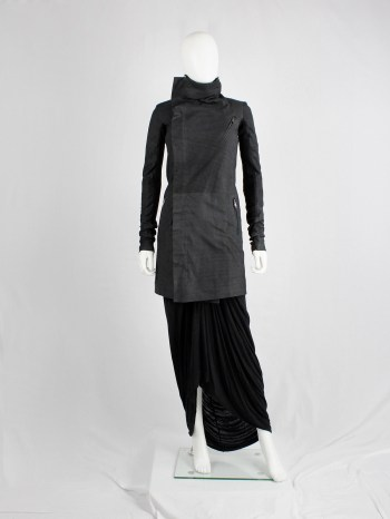 Rick Owens black long classic leather biker coat with standing neckline