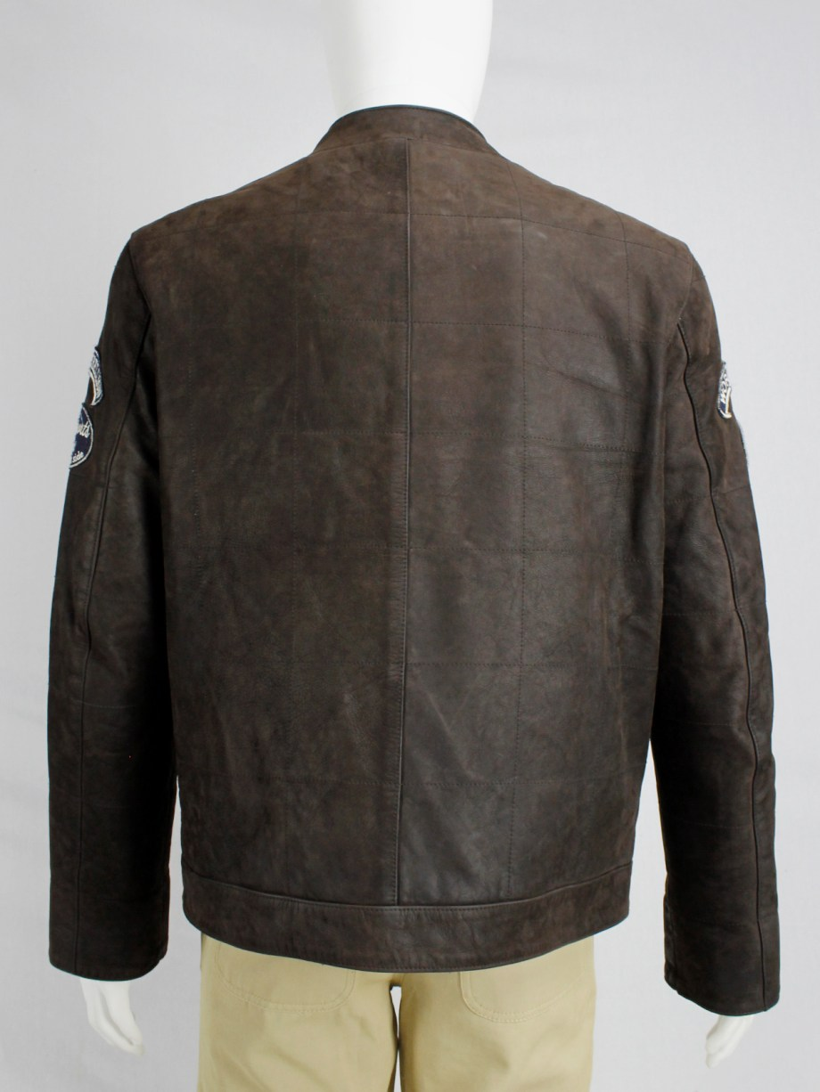 Walter Van Beirendonck for Scapa brown leather 'Formula 1' jacket with beige stripes and patches (6)