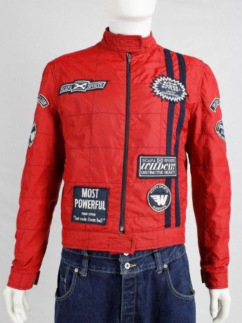Walter Van Beirendonck for Scapa red 'Formula 1' jacket with blue stripes and patches