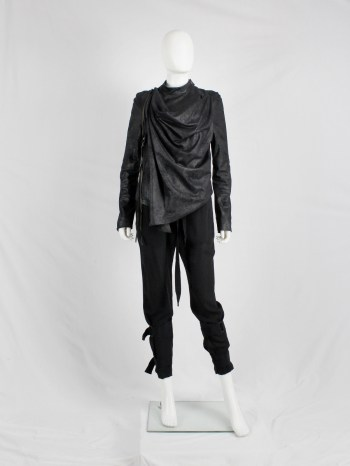 A.F. Vandevorst black fencing jacket with front cowl drape — fall 2010