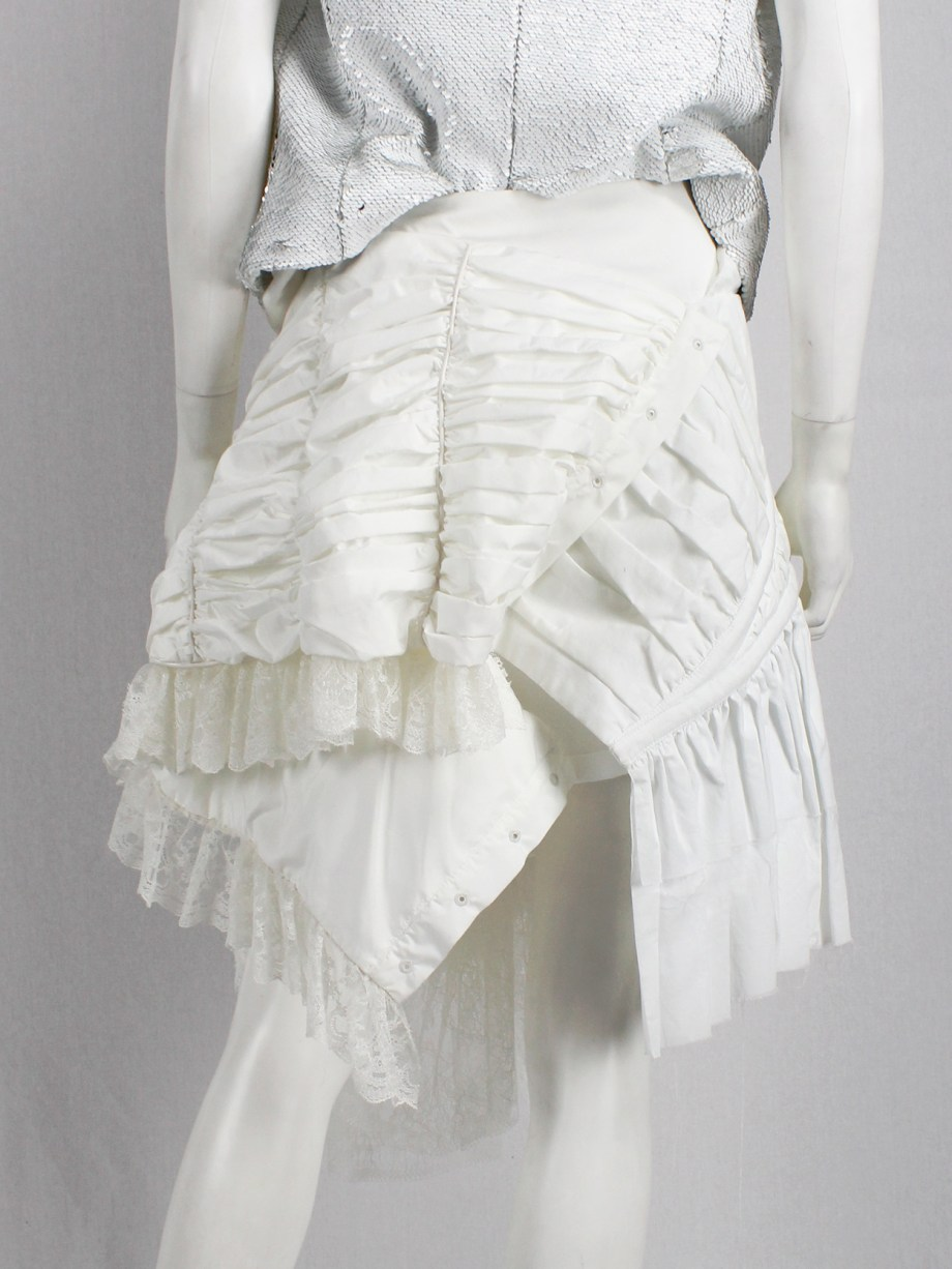 A.F. Vandevorst white deconstructed skirt with boning and lace made of a wedding dress — spring 2017