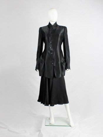 Ann Demeulemeester black jacket with rosary beads and cherub patch — fall 2005