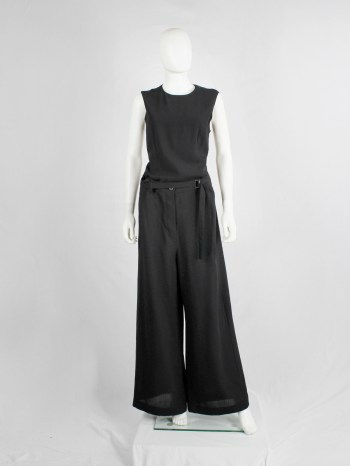vintage Ann Demeulemeester black wide trousers with belt buckle strap fall 2003