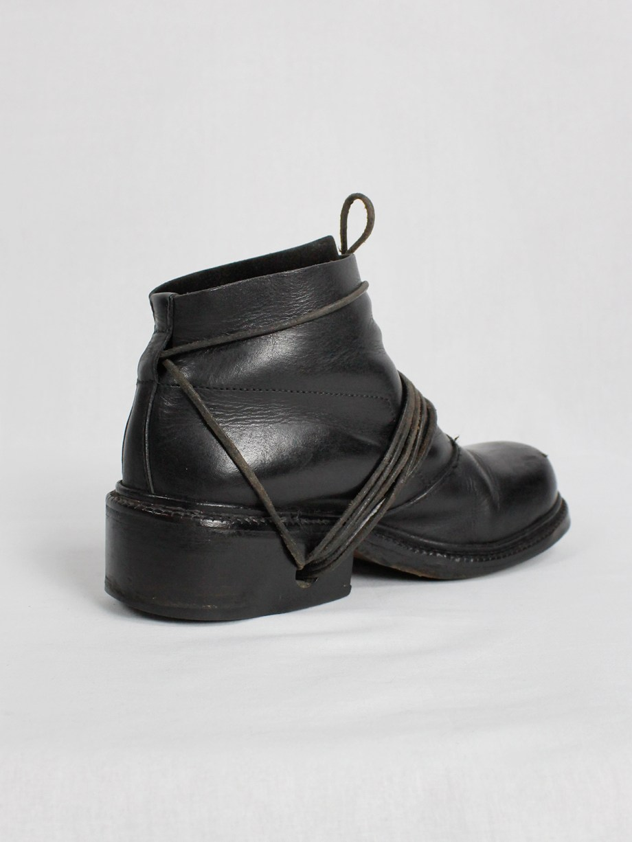 Dirk Bikkembergs black boots with flap and laces through the soles fall 1994 (20)
