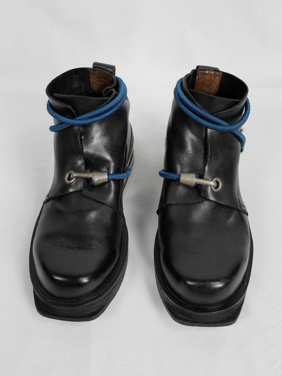 Dirk Bikkembergs black mountaineering boots with metal heel and blue elastic (42) — fall 1996