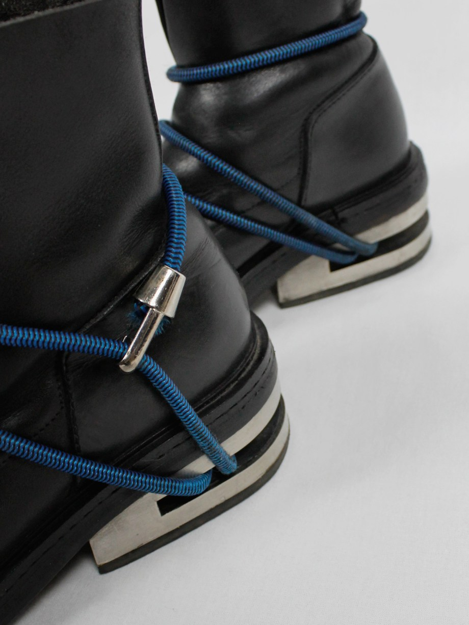 Dirk Bikkembergs black mountaineering boots with metal heel and blue elastic (39) — fall 1996