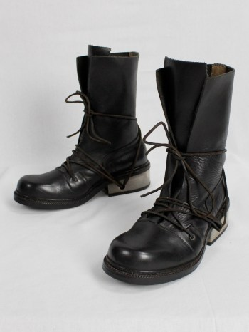 Dirk Bikkembergs black tall boots with laces through the metal heel (41) — late 90's