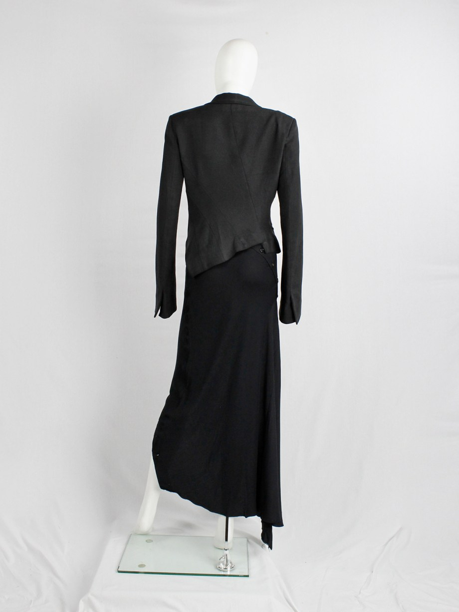 Haider Ackermann black asymmetric blazer with twisted seams — spring 2009