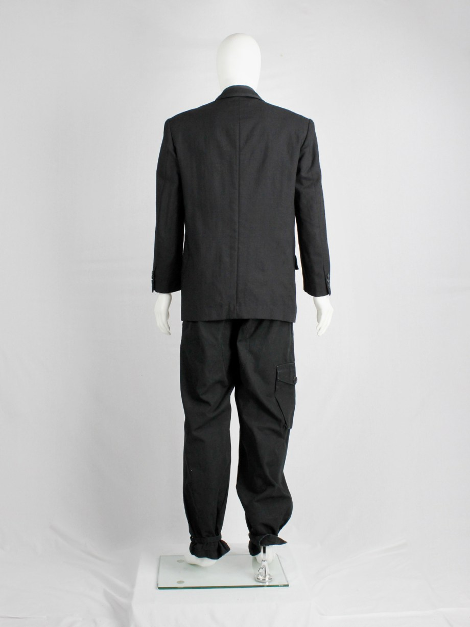 Comme des Garçons Homme black five-button blazer with 3 different front pockets — AD 1990