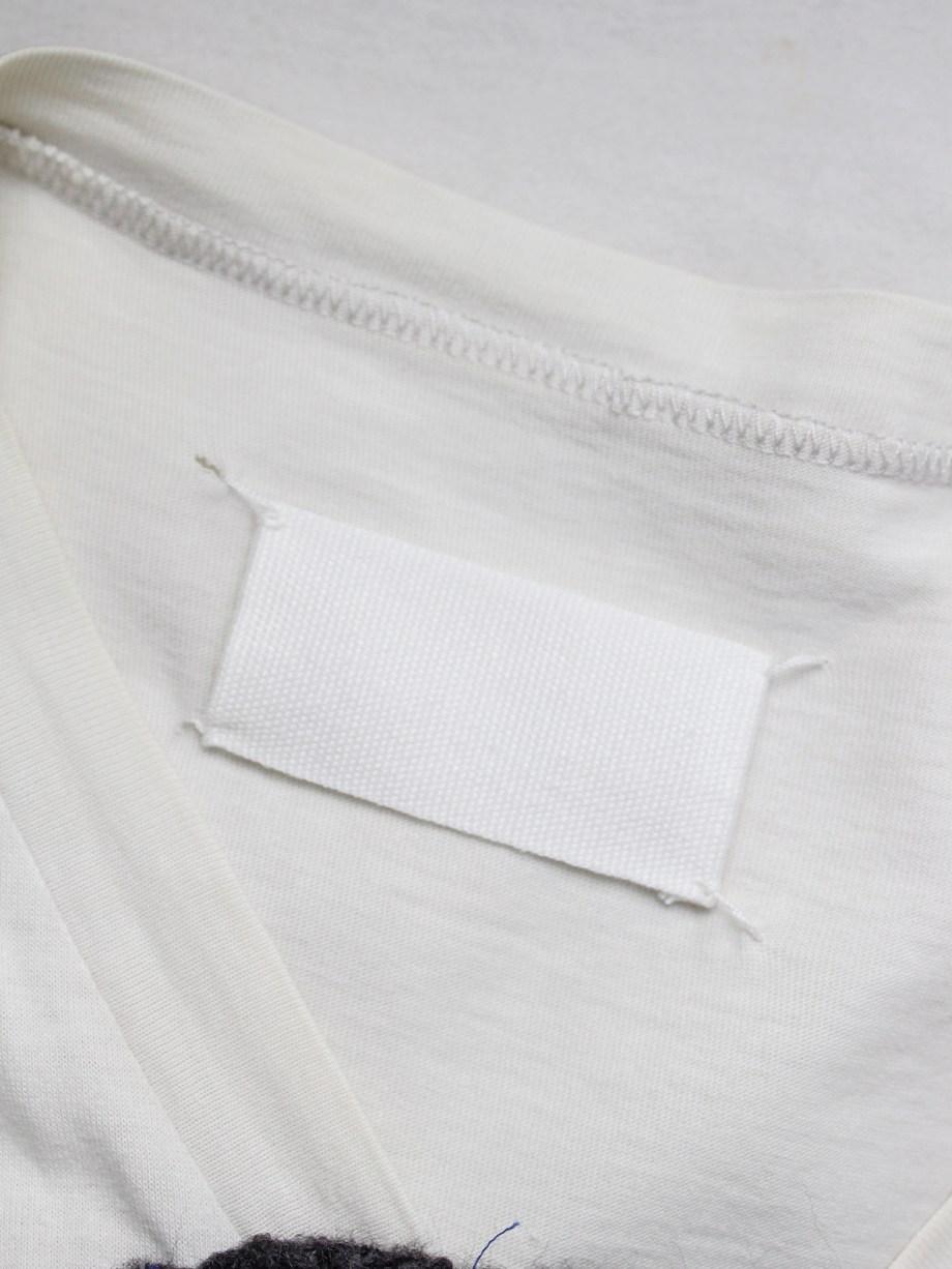 Maison Martin Margiela white sleeveless top with large grey tweed circle — spring 2001