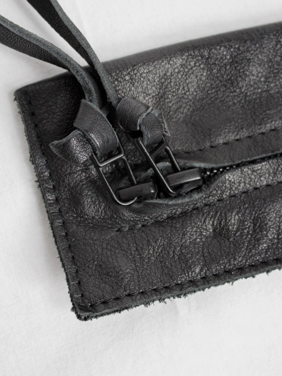 Nico Uytterhaegen black leather pouch with double zipper strap