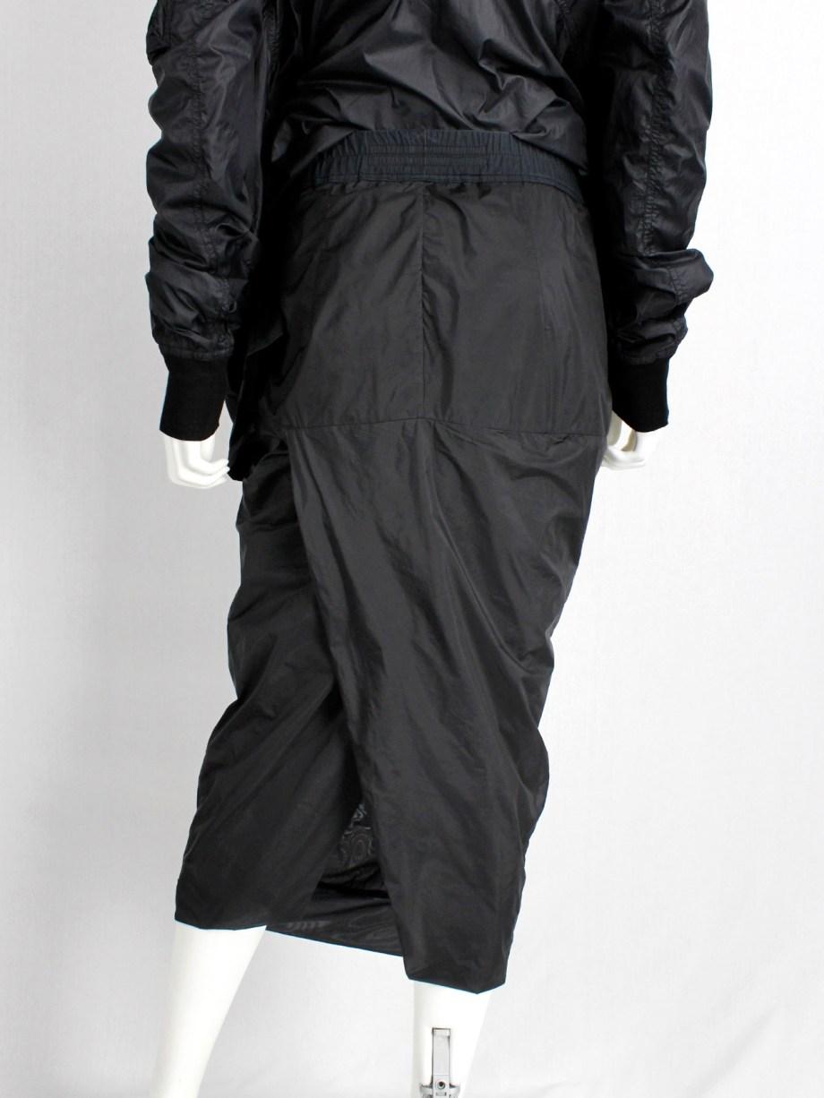 Rick Owens ISLAND black midi-length pillar skirt with back slit — spring 2013
