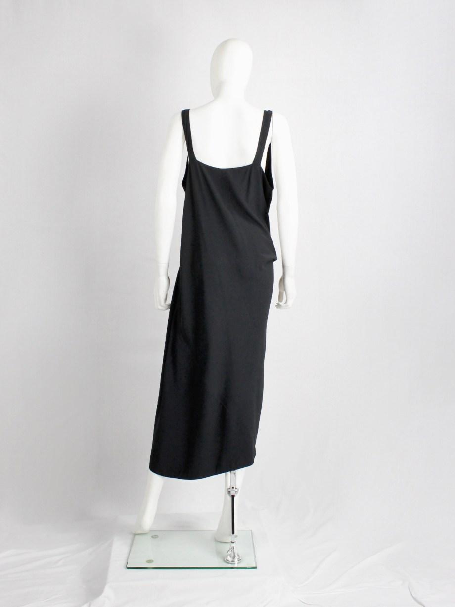 Rick Owens STRUTTER black dress with tornado drape and cowl neck — spring 2009