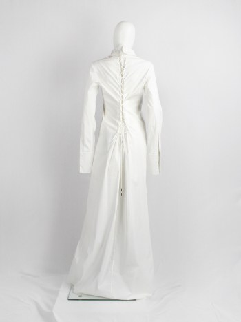 A.F. Vandevorst white maxi shirtdress with back lacing inspired by a straitjacket — spring 1999