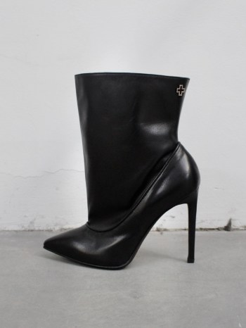 A.F. Vandevorst Black Beauty stiletto ankle boots with pink diamond cross (39) — pair 5/12