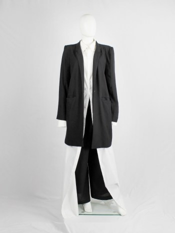Ann Demeulemeester black oversized blazer with minimalist lapels — spring 2010