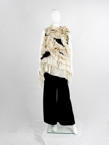 Dries Van Noten black top with many layers of sheer beige frills — spring 2014